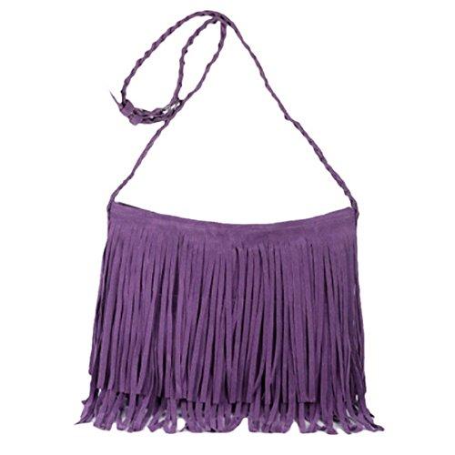 New Fashion Damen PU Leder Vorhängeschloss Tote Handtasche Schultertasche violett