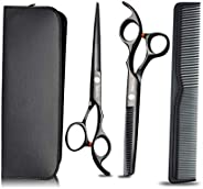 Alloy Durable 6 Inch Professional Barber Salon Haircut Hairdressing Cutting/Thinning Scissors Hair Cutting Shears Set with C