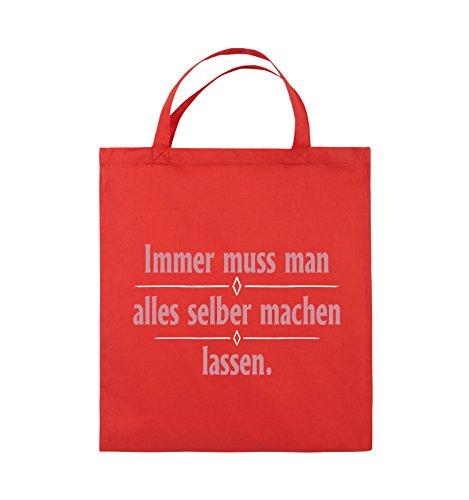 Comedy Bags - Immer muss man alles selber machen lassen. - Jutebeutel - kurze Henkel - 38x42cm - Farbe: Schwarz / Weiss-Neongrün Rot / Rosa-Weiss