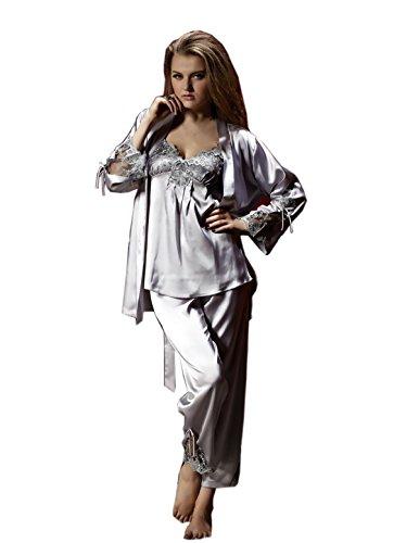 AORUI pigiama da casa, in seta, camicie da notte, confezione da 3 pezzi Argento
