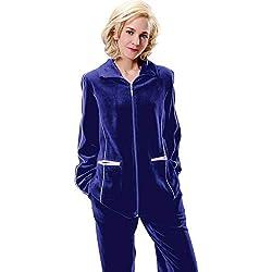 RAIKOU Survêtement Velours Femme Ensembles Sportswear Ensemble d'intérieur Femme Jogging Femme Ensemble Sweat Zippé Manches Longues Pantalon Joggers Confortable, Bleu Royal, 44-46