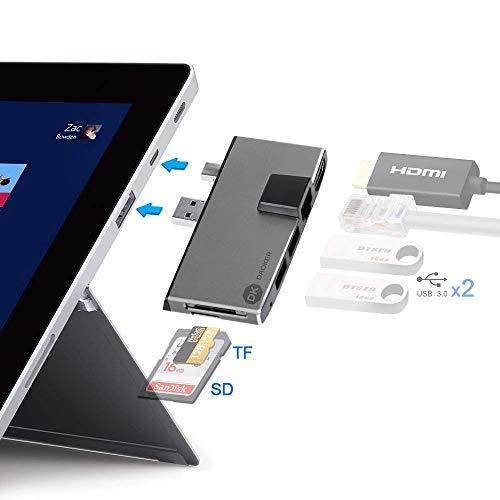 Surface Pro Hub Adapter, Daoker Surface Pro 6 Dock mit Zwei USB 3.0-Hubs, Mini-DP-auf-4K-HDMI-Adapter, Ethernet Anschluss und SD/Micro SD-Speicherkartenleser -