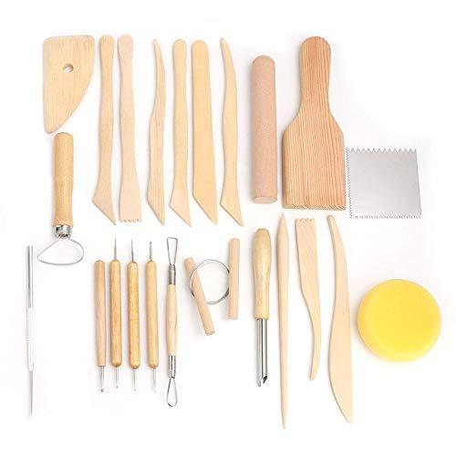Clay Sculpture Tool, 23-TLG. Holz & Metall Clay Sculpture Knife Kit für Keramik Handwerk Clay Carving Tool Set (Sculpture Kit Clay)