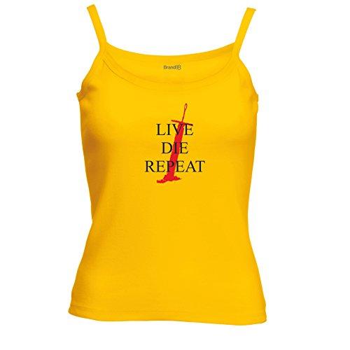 Brand88 - Live. Die. Repeat Spagetti Traeger Top Sonnenblumen Gelb