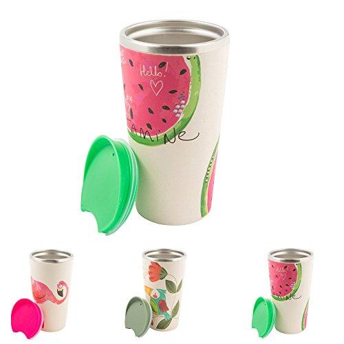 BIOZOYG Gobelet en Bambou pour café à emporter avec Noyau en Acier affiné, Fermeture à Bouton Pression I Gobelet de Voyage avec Couvercle gobelet en Bambou récipient Isotherme 400ml Melon