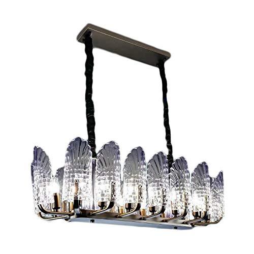 NBGT Kristallleuchter, Pfau-Feder-Form-Kristall Moderne Glas-Kronleuchter, Wohnzimmer/Gastronomie Schmiedeeisen-Befestigungen -