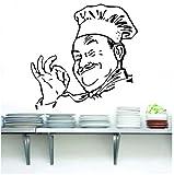 Chef Sticker Mural Artiste Résidence Décoratif Vinyle Silhouette Drôle Cuisine Chef, Restaurant Décoration Sticker Mural 42X42Cm