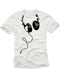 Cooles T-Shirt mit KOPFHÖRER für Herren in weiß Größe S-XXXL
