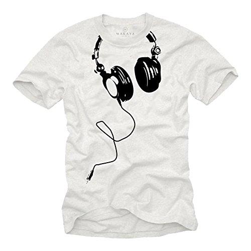 Cooles T-Shirt mit KOPFHÖRER für Herren in weiß Größe S