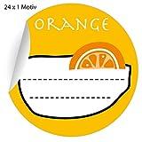 24 leckere Orangen Marmeladen Aufkleber auch für Liköre u.a. Köstlichkeiten zum beschriften, gelb, MATTE Papieraufkleber für Geschenke, Etiketten für Tischdeko, Pakete, Briefe und mehr (ø 45mm