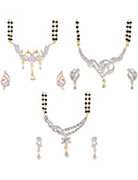 Zeneme Gold American Diamond Combo Of 3 Mangalsutra With Earrings Set For Women
