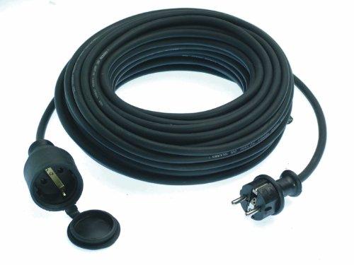 as - Schwabe 60315 Gummi-Verlängerung, 15m H05RR-F 3G1,5, schwarz, IP44 Aussenbereich