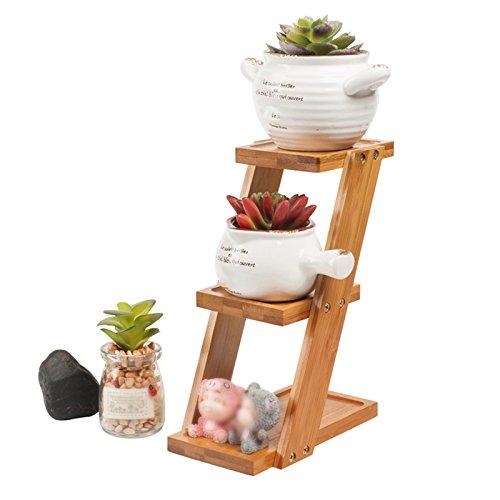 LXF Pots Plante Fleurs Petite fleur stand étagère bureau multi-couche balcon solide bois salon