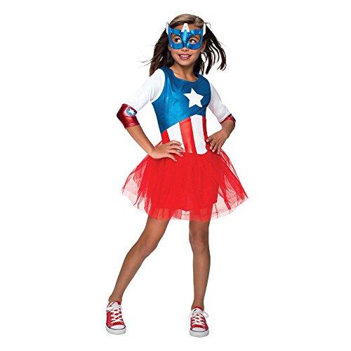 Captain America Kostüm für Kinder Girl Dream Kleid mit Maske rot blau - L