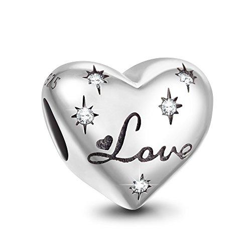Ninaqueen amore stellata charm bead donna argento sterling 925 compatible con pandora charm braccialettoi, regali festa della mamma natale anniversario compleanno festa mamma ragazza lei