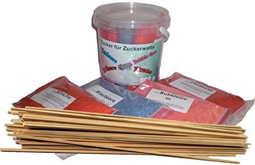 Zucker für bunte Zuckerwatte mit Geschmack 4x200g - Kirsche - Erdbeere - Blaubeere - Bubble Gum + 50 Zuckerwattestäbe/Perfekt für jede Zuckerwattemaschine geeignet | 800 Gramm gesamt