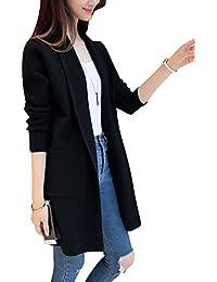 Mujer Otoño Primavera Moda Suelto Ropa Parka Cárdigan Sweater Suéter