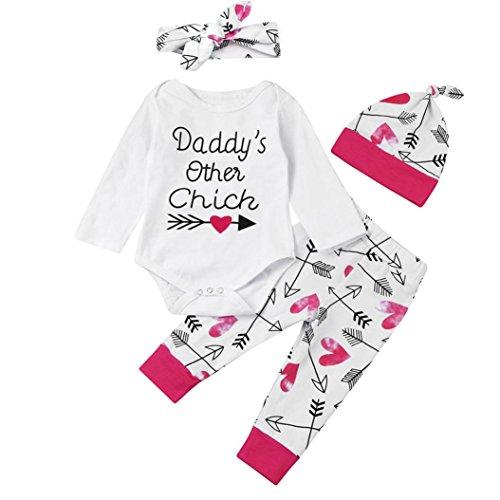Kostüme Rock Chick (FEITONG Kinder Baby Jungen Mädchen Briefdruck Daddy's Other Chick Tops + Blumen Hosen + Hut + Stirnband 4pcs Bekleidungssets (6M,)