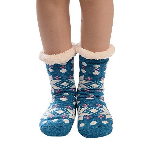MIRRAY Damen Mädchen Weihnachts Socken Drucken Dicker Anti-Rutsch-Boden Socken Teppich Baumwolle Sneakersocken Stoppersocken Strümpfe ()