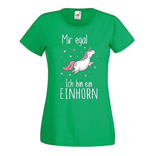 Einhorn Damen Mädchen T-Shirt Mir egal ich Bin EIN Unicorn Spruch Fun Ladyfit Kelly Green M -