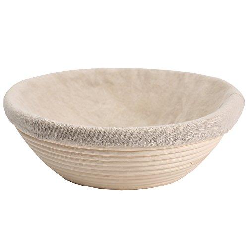 Gärkörbchen Brotform Rund 25 x 8.5cm Peddigrohr Korb Gärkorb für 1,0 Kg Brot Teig Ausgelegt inkl. Leineneinsätze