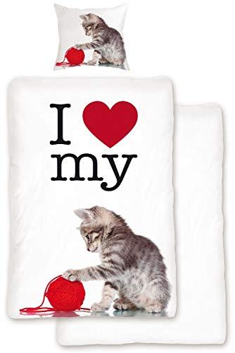 Bettwäsche Set Love Cat Rot Weiß 2tlg Wendeoptik Katzenmotiv Tiermotiv, Größe:135x200 cm + 80x80 cm