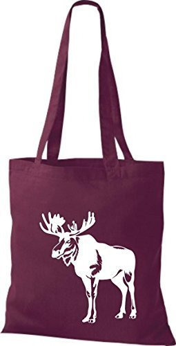 shirtstown Borsa di stoffa animale alce, elk, Karibus Bordeaux
