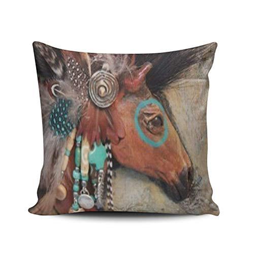 Liumiang Kissenbez¨¹ge Exotic Fashion Salleing Custom Fashion Home Decor Pillowcase Native American Indians Horse Square Throw Pillow Cover Cushion Case 18x18 In Native American Indian Cover