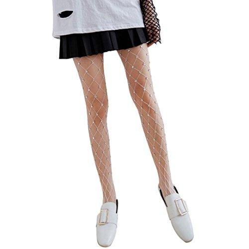 Stretch-große Loch-fischnetz-strumpfhose (Coolster Frauen Mädchen Damen Sexy Elastische Fishnet Strumpfwaren Fischnetz Oberschenkel Strümpfe Mesh Strumpfhosen Paar mit Dekoration (w007 weiß))