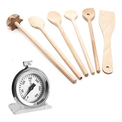 7 tlg Koch/Back Küchenhelfer Set mit Grill/Backofen/Ofen Edelstahl Thermometer bis 300 °C und 4 vers. Kochlöffel, Pfannenwender und Quirl Holz