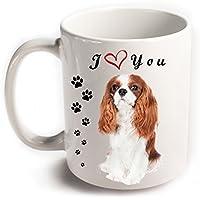 Ti amo cane Cavalier King Charles Spaniel tazza in ceramica bianca con stampa su entrambi i lati, grande regalo per gli amanti del tè caffè