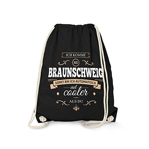Fashionalarm Turnbeutel - Ich komme aus Braunschweig - Bin viel Cooler als du | Fun Rucksack mit Spruch als Geschenk Idee für stolze Braunschweiger, Farbe:schwarz