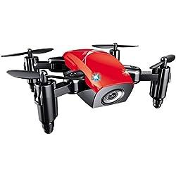 quadcopter kit de Sannysis 2.4G 6 Axis gyro Aviones plegables RC Quadcopter Drone profesional baratos con Control remoto - Movimiento continuo en 3D de 360 grados Helicóptero - Drone de bolsillo (Rojo)