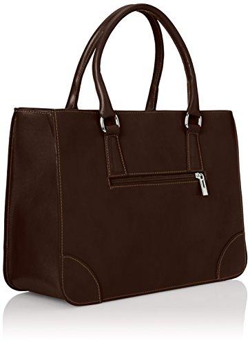 CTM Tasche Elegante Frau Klassische, Italian Style, 36x26x18cm, echtes Leder 100% Made in Italy Braun (Marrone Scuro)