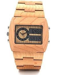 uwood mano Analog Digital Madera y doble movimiento reloj para hombre lujo unisex reloj de pulsera de madera