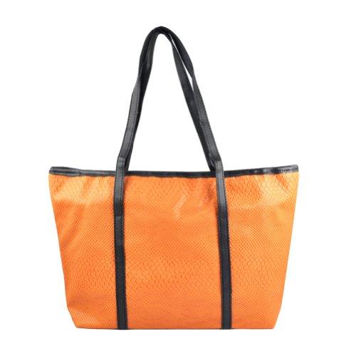 SODIAL(R) , Damen Tote-Tasche Schwarz schwarz orange