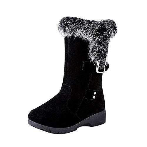 (JiaMeng Damen Schnee Stiefel Schnalle Plus Velvet Wedge Platform in der R?hre Fell Casual Warm Middle Boots Winter Damenstiefel warme Schuhe)