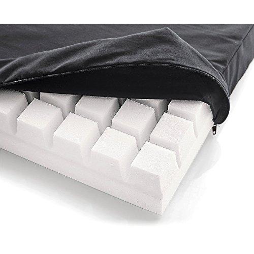 Sitzkissen/Sitzerhöhung mit Würfelsturktur für Druckstellenentlastung (Antidekubitus), spürbare Entlastung beim Sitzen, Kissen 40x40x5,5cm, Bezug 100% Baumwolle, anthrazit