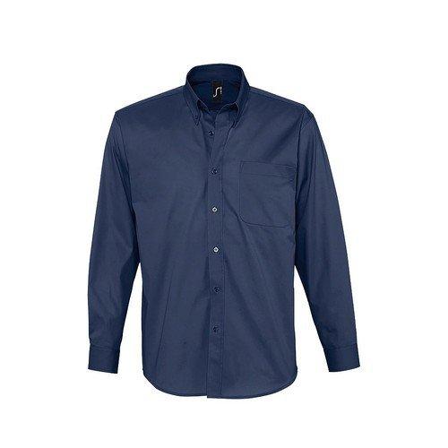 Sols - camicia maniche lunghe 100% cotone - uomo (s) (blu navy)