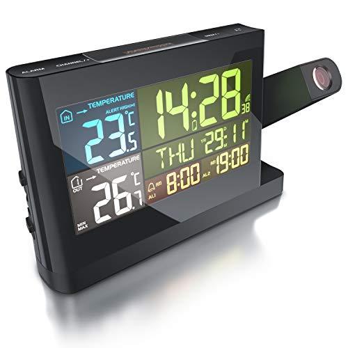 CSL - Funk Wetterstation mit Farbdisplay und LED - inkl. Außensensor - DCF Empfangssignal - Innen und Außentemperatur - LCD Display