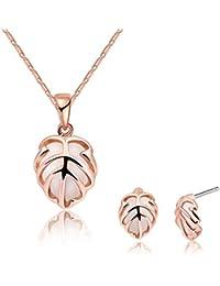 Adisaer Damas Conjunto Joyería Aleación de Metal Collar Pendientes Oro Rosa Hueco Follaje Ópalo Joyería Rosa Para Mujeres Regalo