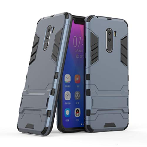 SANHENGMIAO COVER Für Xiaomi Handy Doppeldecker-Panzerabwehrschutz gegen Erdbebenschutz, geeignet für Hirse Pocophone F1 / Poco F1 (Farbe : Blau Schwarz)