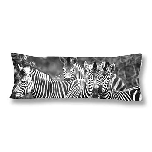 CiCiDi Seitenschläferkissen 5ft (140 x 40 cm) Benutzerdefinierte Schwarze weiße Zebras aus weicher Baumwolle Maschinenwäsche mit Reißverschlüssen Mutterschafts- / Lange Kissenbezug -