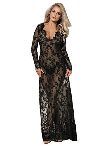 ComeonDear Damen Kleider Sexy Spitze Lang Langarm V-Ausschnitt Negligee Schwangerschafts Umstandskleid Cocktailkleid Abendkleid (DE44/48=3X-Large, Schwarz) -
