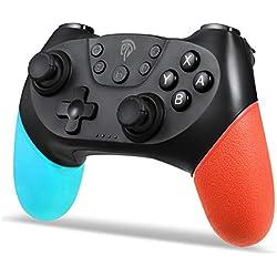 Manettes Switch, Manette pour Nintendo Switch, Manette Switch sans Fil Bluetooth, 6 Axes Manette Switch Pro avec Double Moteur Intégré pour Nintendo Switch Pro/ Lite et PC, Noir Bleu
