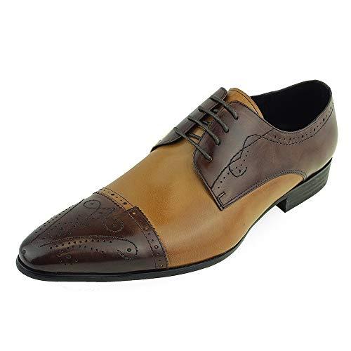Beston Einzigartige Herrenschuhe für Herren Vintage Oxford Cap Toe (Color : Brown/Brown, Size : 43 EU) Cap Toe Loafer