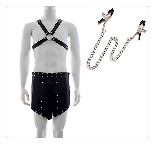 Z-one 1 Herren verstellbare, X-f?rmige Brustgurt-Shorts aus Kunstleder mit Clip-Klemme und Schmuckzubeh?r