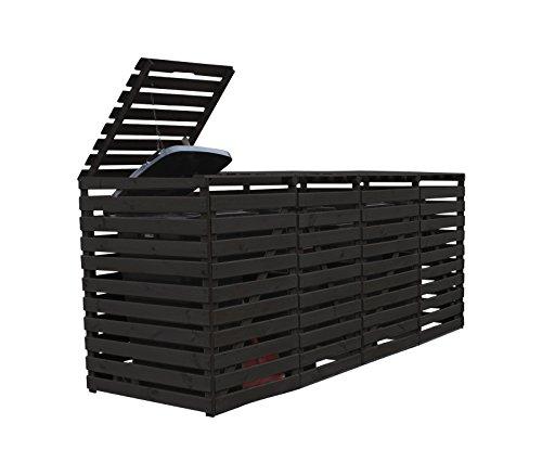 *Gero metall Mülltonnenverkleidung Holz Anthrazit für Vier 240 Liter Mülltonnen*