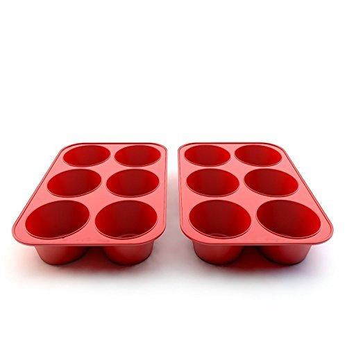 wolecok 2Packungen Muffin Pan, 6Tassen Cupcake Silikon Backblech 6cups rot 6-cup Muffin Pan