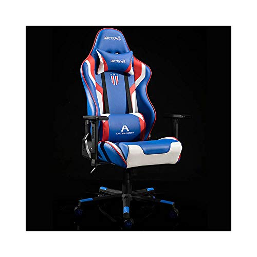 WANGZRY Echtes Leder Gaming Haushalt Ergonomische Stuhl Student Internet Computer Sitz Swivel büro zubehör möbel,Blue1 - Leder-möbel-zubehör
